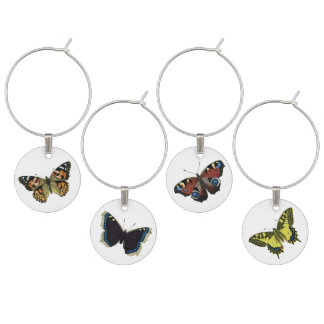 Vintage Butterfly Illustration Wine Charm