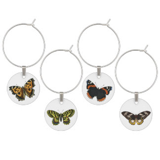 Vintage Butterfly Illustration Wine Charm Set
