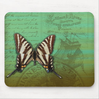 Vintage butterfly lettering background mouse pad