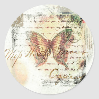Vintage butterfly mail round sticker