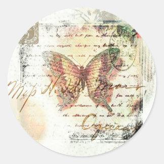 Vintage butterfly mail round sticker