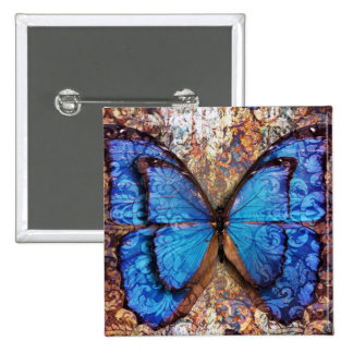 Vintage Butterfly Name Tag Button Damask Nature