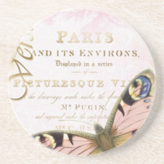 Vintage Butterfly Paris Drink Coasters