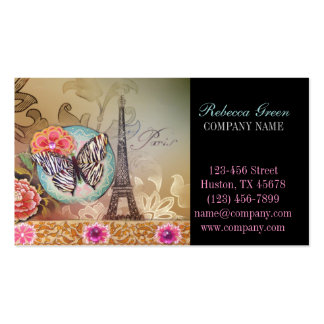 vintage butterfly Paris Eiffel Tower fashion Pack Of Standard Business Cards