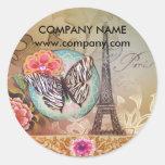 vintage butterfly Paris Eiffel Tower fashion Round Sticker