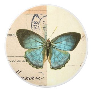 Vintage butterfly rustic ceramic knob