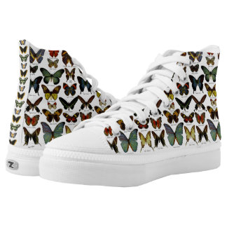 Vintage Butterfly Taxonomy Print High-Top Printed Shoes