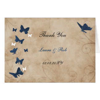 vintage butterfly wedding Thank You Greeting Card