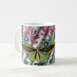 Vintage Butterfly with Flowers Collage Mug