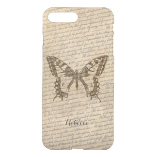 Vintage Butterfly with Name Old Scripts Background iPhone 7 Plus Case