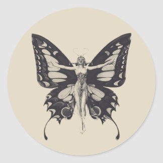 Vintage Butterfly Woman Round Sticker