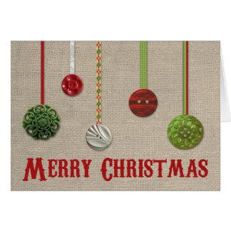 Vintage Button Ornament & Burlap Christmas Card