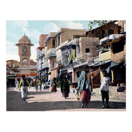 Vintage c 1910 Street Scene Udaipur India Postcard