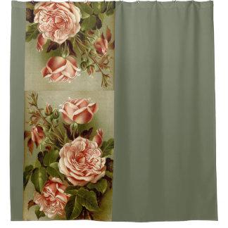 Vintage Cabbage Rose Flowers Floral Garden Shower Curtain