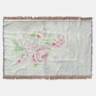 Vintage Cabbage Rose Sofa Throw Blanket