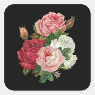 Vintage Cabbage Roses-Black Background Square Sticker