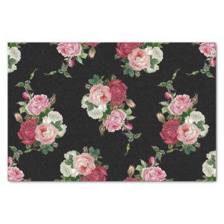 Vintage Cabbage Roses-Black Background Tissue Paper