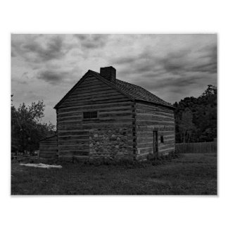Vintage Cabin Black And White Photo Poster