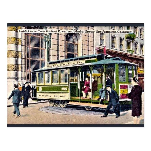 vintage Cable car turn table San Francisco, CA Postcards
