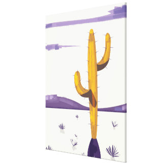 Vintage Cactus in the desert Canvas Print