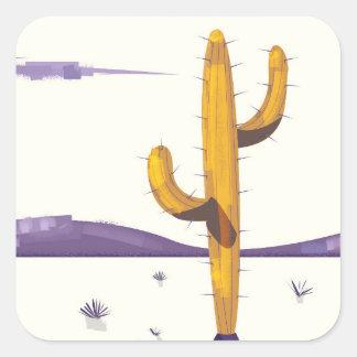 Vintage Cactus in the desert Square Sticker