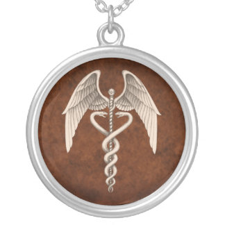 Vintage Caduceus Medical Winged Necklace