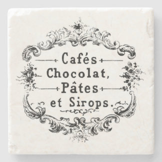 Vintage Café Advertisement Stone Beverage Coaster