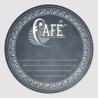 Vintage Cafe Blackboard Lined Recipe Sticker