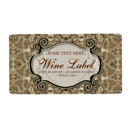 Vintage Cafe Latte Lace Wedding Wine Labels