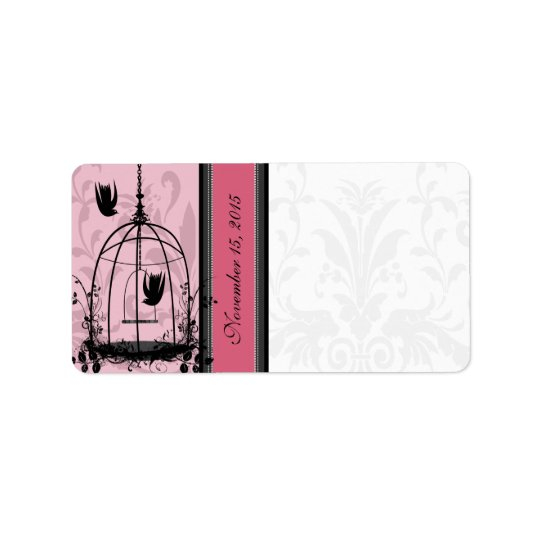 Vintage Cage Pink Bird & Black Damask Dots Address Label
