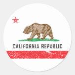 Vintage California Flag Round Sticker