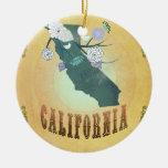 Vintage California State Map- Passion Fruit Yellow Round Ceramic Decoration