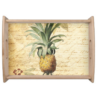 Vintage Calligraphy and Pineapple Art Serving Tray