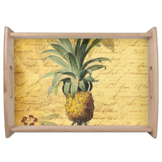 Vintage Calligraphy and Retro Pineapple Serving Tray