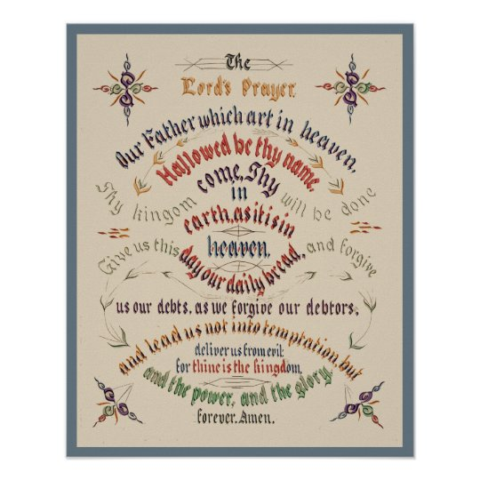 Vintage Calligraphy Lords Prayer 1889 Poster