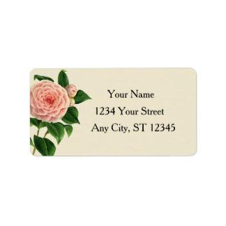 Vintage Camellia Botanical Address Label