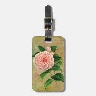 Vintage Camellia French Botanical Personalised Luggage Tag