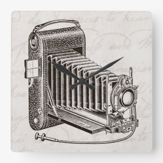 Vintage Camera - Antique Cameras Photography Retro Square Wall Clock