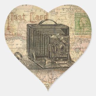 Vintage Camera Antique Map Africa Digital Collage Heart Sticker