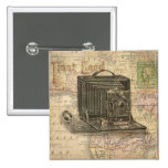 Vintage Camera Antique Map of Africa Collage Pins