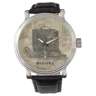 Vintage Camera Antique Map of Africa Personalized Watch
