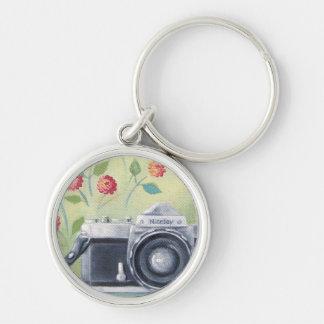 Vintage Camera & Flowers Keychain