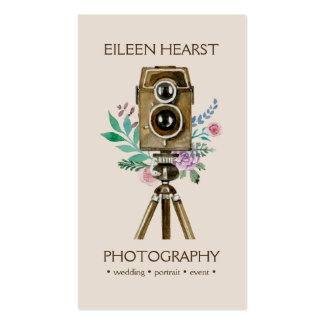 Vintage Camera & Flowers Watercolor Photography Pack Of Standard Business Cards