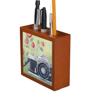 Vintage Camera & Flowers Wood Desk Organizer