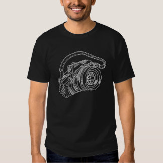 Vintage Camera in White Lines Tee Shirts
