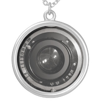 Vintage Camera Lens on Silver Plated Necklace