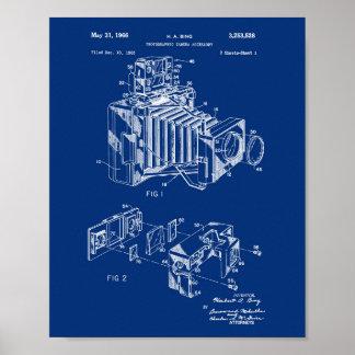 Vintage Camera Patent Poster Navy Blue Background