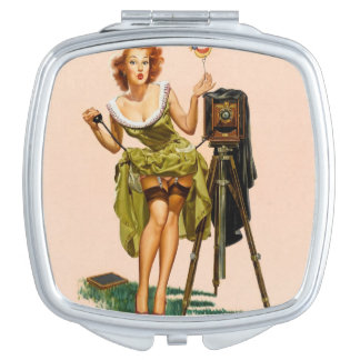Vintage Camera Pinup girl Makeup Mirror