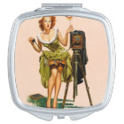 Vintage Camera Pinup girl Mirror For Makeup