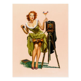 Vintage Camera Pinup girl Postcard